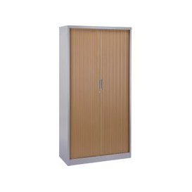 image-Contract Steel Tambour Cupboard, 100wx47dx102h (cm), Beech, Free Next Day Delivery