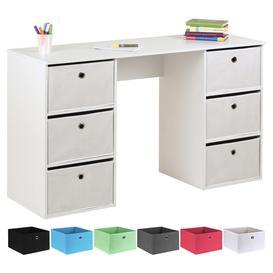image-Hartleys Kids White Storage Desk & 6 Easy Grasp Box Drawers - White