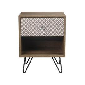 image-Draco Lamp Table In Wooden Effect With Black Wired Legs