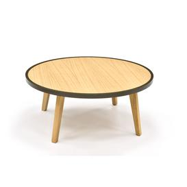 image-Crown Round Oak Coffee Table 80cm, Low
