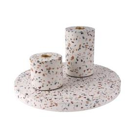 image-Terrazzo multi colour large candle holder