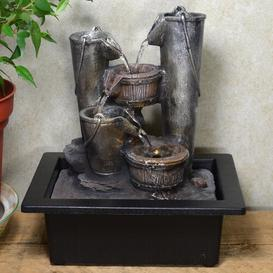 image-Trevion Resin Bucket Cascade Fountain with LED Light
