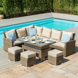 image-Maze Rattan Garden Furniture Tuscany Corner Sofa Set With Rising Table