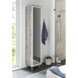 image-Moberg 35cm x 179cm Wall Mounted Bathroom Cabinet Mercury Row Colour: Concrete/White, Orientation: Left