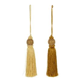 image-A by AMARA Christmas - Beaded Tassel Tree Decorations - Set of 2 - Gold