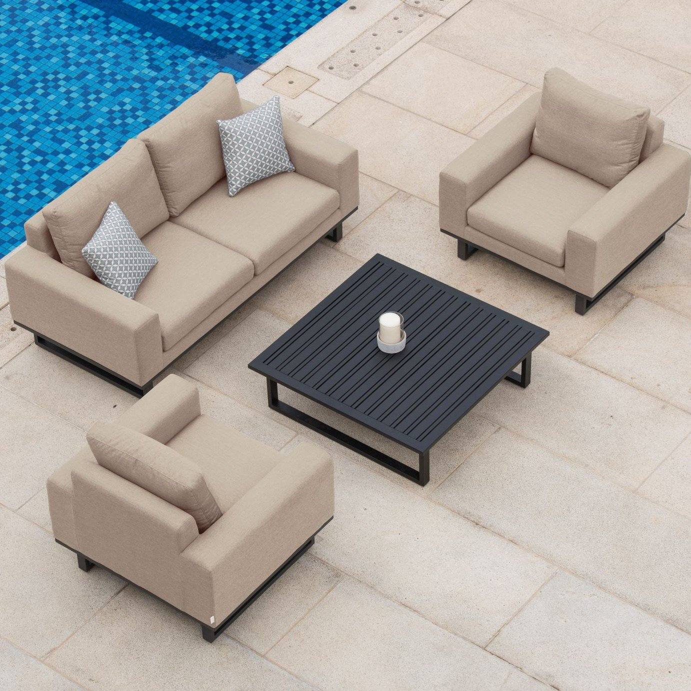 image-Maze Lounge Outdoor Fabric Ethos 2 Seat Sofa Set in Taupe