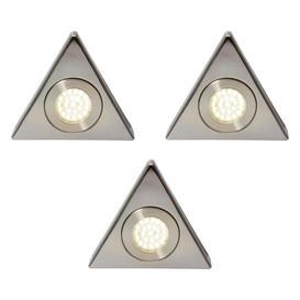 image-Pack of 3 Scott Triangular Natural White LED Under Kitchen Cabinet Light - Satin Nickel