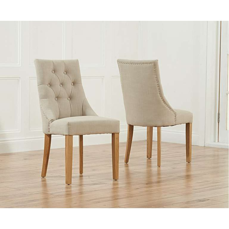 image-Pacific Beige Fabric Oak Leg Dining Chairs