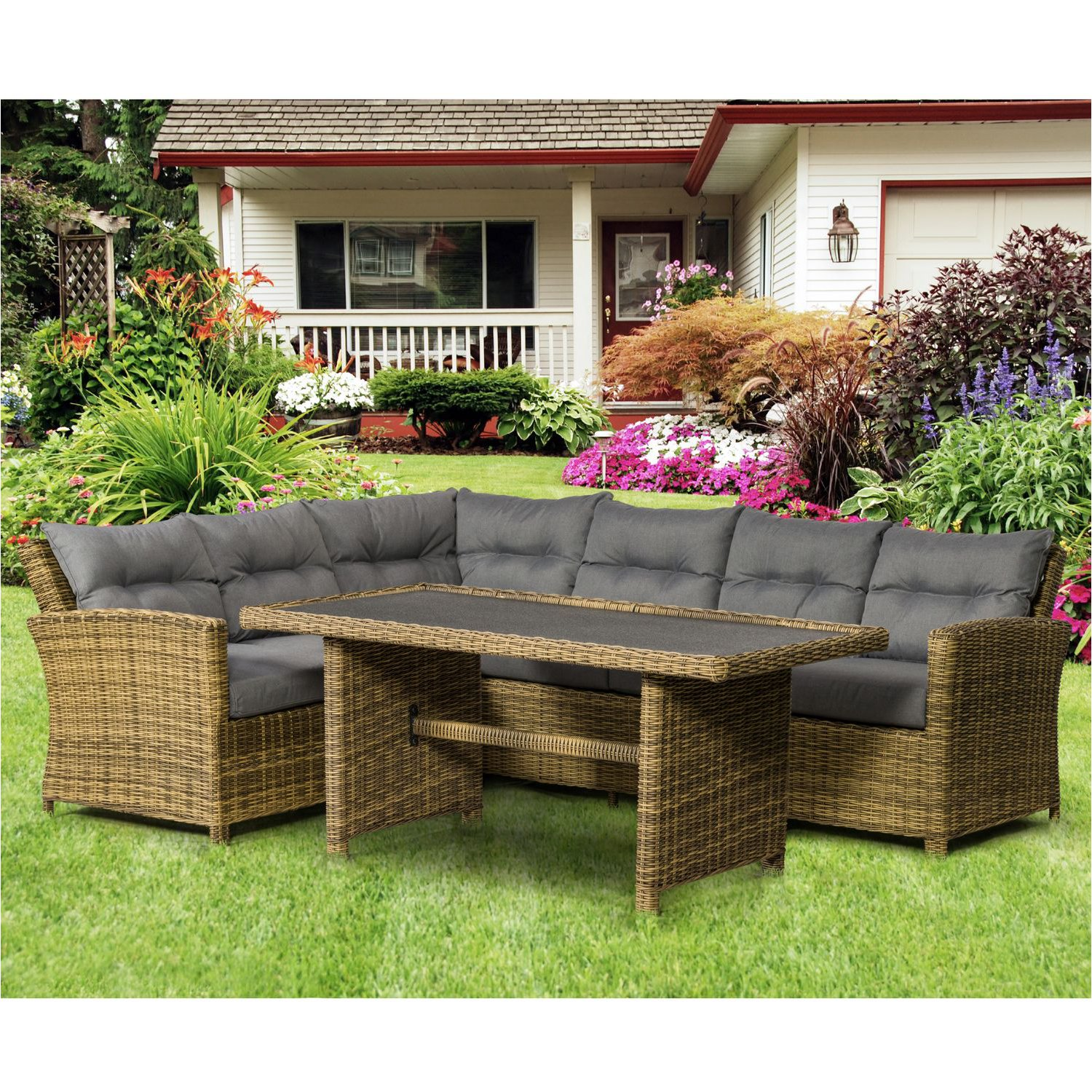 image-Royalcraft Garden Modena Corner Dining Set with Weather Shield Fabric Cushions