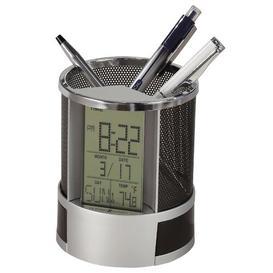 image-Modern & Contemporary Digital Plastic Quartz Alarm Tabletop Clock in Silver Howard Miller