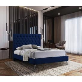image-Jalen Upholstered Bed Frame Fairmont Park Size: Double (4'6), Colour: Blue