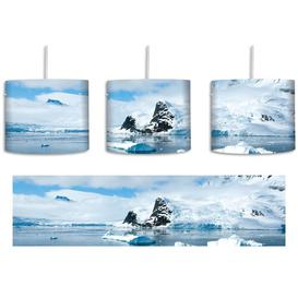 image-Winter Landscape 1-Light Drum Pendant East Urban Home Shade Colour: White/Blue