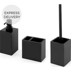 image-Ryder Toilet Brush, Soap Dispenser & Tumbler Set, Matte Black
