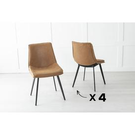 image-Set of 4 Ezra Metal Tan Brown Dining Chair