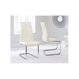 image-Tarin Cream Faux Leather Hoop Leg Dining Chairs (Pairs)