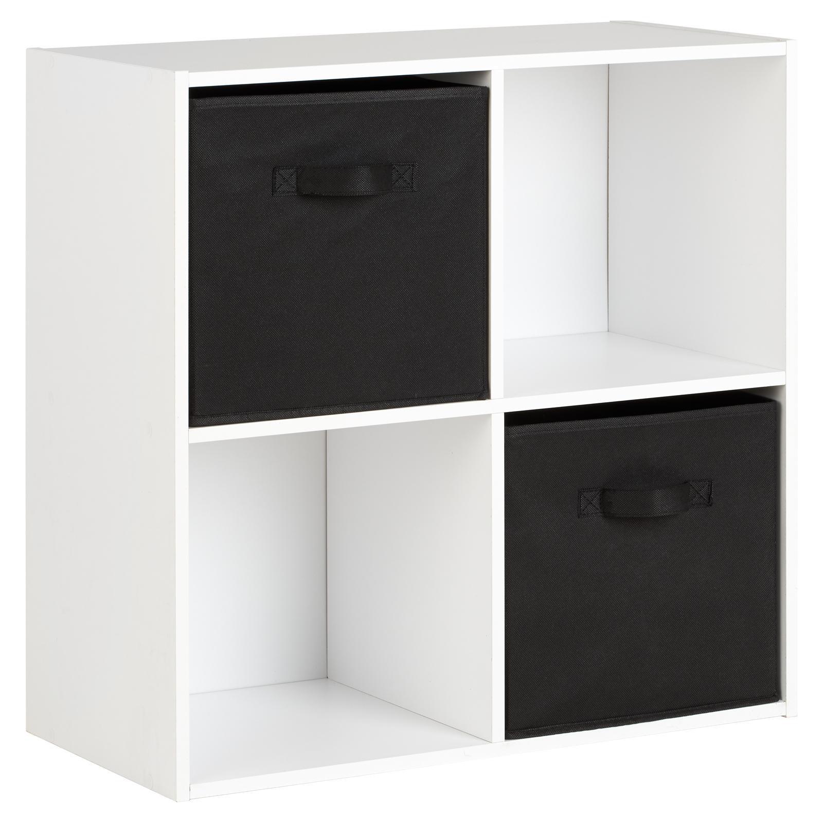 image-Hartleys White 4 Cube Storage Unit & 2 Handled Box Drawers - Black