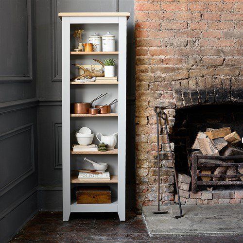 image-Chester Grey Tall Slim Bookcase