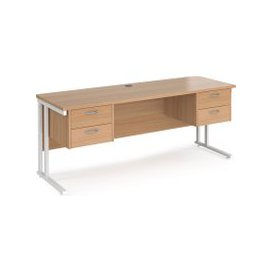image-Value Line Deluxe C-Leg Narrow Rectangular Desk 2+2 Drawers (White Legs), 180wx60dx73h (cm), Beech, Free Next Day Delivery