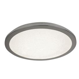 image-Searchlight 8100-30CC Bathroom Flush Ceiling Light In Chrome With Sanded Glass - Dia: 300mm