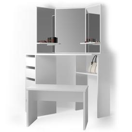 image-Russellville Dressing Table Set with Mirror Mercury Row Colour: White