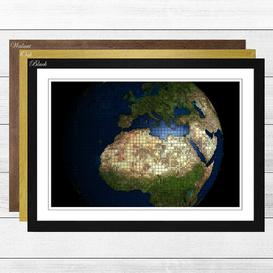 image-'Globe World Map 2' Framed Photographic Print East Urban Home Frame Colour: Black