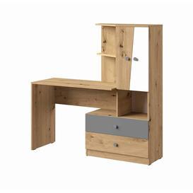 image-Nero NE-11 Computer Desk - 150cm Grey Matt & Oak Artisan Oak Artisan