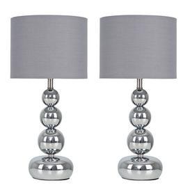 image-Ettinger 2 Piece Table Lamp Set Fairmont Park Bulb Type: LED Bulbs, Shade Colour: Grey