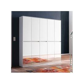 image-Cubix Mirrored Hallway Wardrobe Large In White With 10 Doors