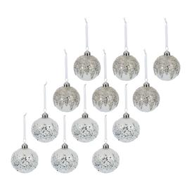 image-A by AMARA Christmas - Beaded Ice Baubles - Set of 12 - White/Silver