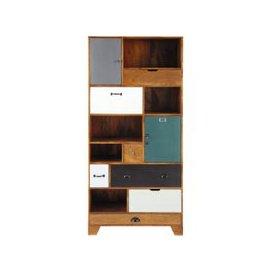 image-Multicoloured Mango Wood 6-Drawer 2-Door Bookcase Picadilly