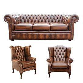 image-Chesterfield 3 Piece Leather Sofa Set Winchester Leather Ltd Upholstery Colour: Old English Tan