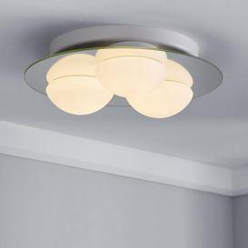 image-Harlow 3 Light Frosted Bathroom Flush Ceiling Fitting White