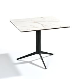 image-New York Square Marble-effect Top Coffee Table, White