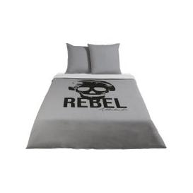 image-Children's Grey Cotton Bedding Set with Black Print 240x220