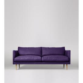 image-Swoon Luna Three-Seater Sofa in Aubergine Soft Wool With Light Feet