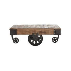 image-Solid mango wood and metal industrial coffee table on castors W 130cm