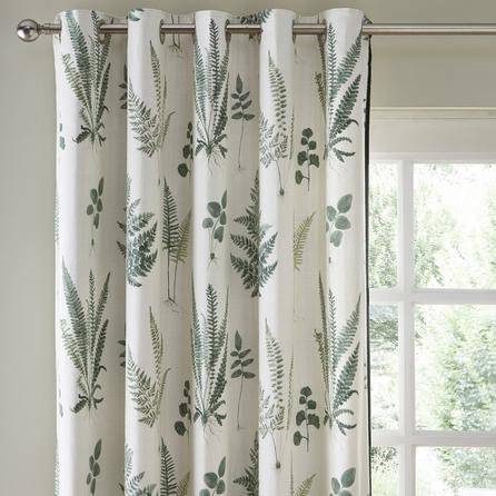 image-Fern Green Eyelet Curtains White and Green