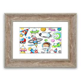image-'Space Kid' Framed Graphic Art East Urban Home Size: 50 cm H x 70 cm W, Frame Options: Walnut