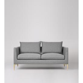 image-Swoon Catalan Two-Seater Sofa in Light Grey Soft Wool With Brass Feet