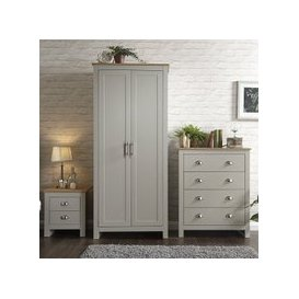 image-Valencia Trio Bedroom Furniture Set In Grey With Oak Top