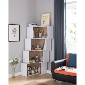 image-Essays Corner Bookcase Ebern Designs Colour: White/Weathered Sand