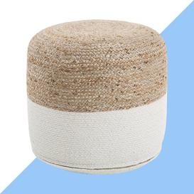 image-Casas Pouffe Hashtag Home Upholstery Colour: White