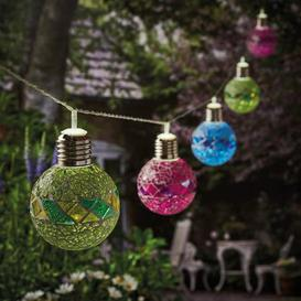 image-Cole & Bright Dual Power 10 Mosaic Ball Solar String Lights Multi coloured