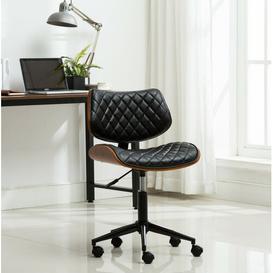 image-Brayan Ergonomic Desk Chair Blue Elephant Upholstery Colour: Black