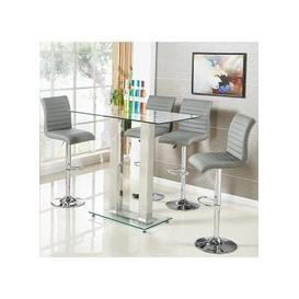 image-Jet Glass Bar Table In Clear With 4 Ripple Grey Bar Stools