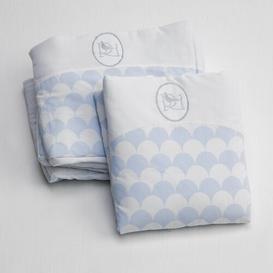 image-Baby Sheet Set Just Kids Colour: White/Sky Blue, Size: 75 cm W x 85 cm L
