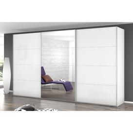 image-3 Door Sliding Wardrobe Rauch Colour: White, Size: H236 x W405 x D69cm, Interior Option: Premium