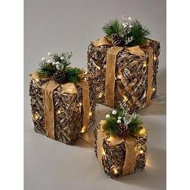 image-Lit And Frosted Rattan Gift Box Christmas Decorations (Set Of 3)