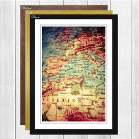 image-'Globe World Map 1' Framed Wall Art Big Box Art Frame Colour: Walnut