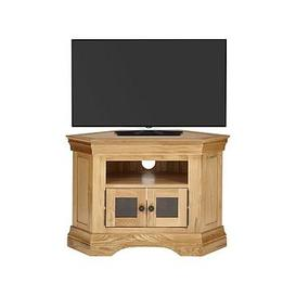 image-Luxe Collection Constance Oak Ready Assembled Corner Tv Unit - Fits Up To 50 Inch Tv